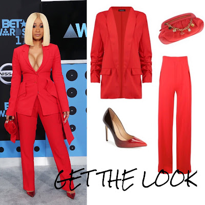 Cardi B Red Suit BET Awards
