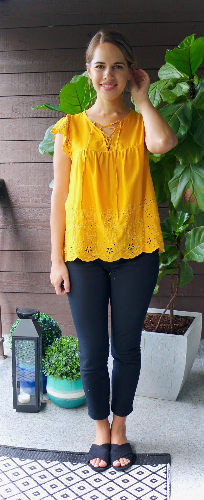 Jules in Flats - Mustard Yellow Eyelet Top