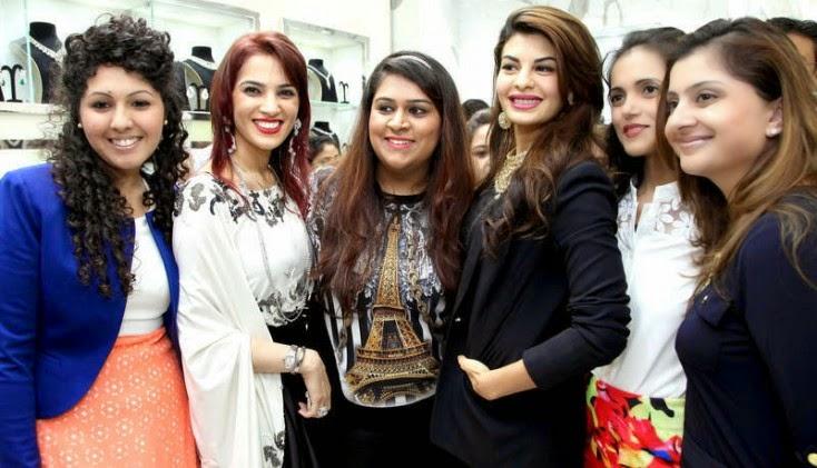 Sneh Dhalwani, Bharti Jethwani, Rema Bhatheja,  Kashish Bhatheja and Kavita Bhatheja, Jacqueline Fernandez Launches Meena Jewellers in Dubai