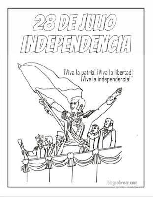 Colorear PERU Proclamación de la Independencia