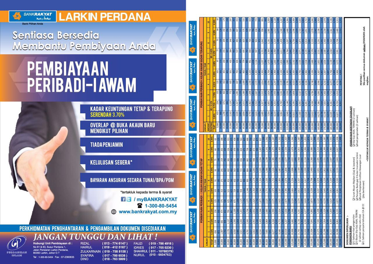 Personal Loan Bank Rakyat Johor Bahru Larkin Perdana Branch