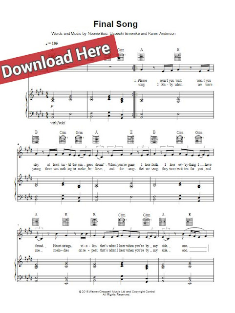 Mø, Final Song, sheet music, piano notes, chords, download, keyboard, guitar, klavier noten, voice, vocals