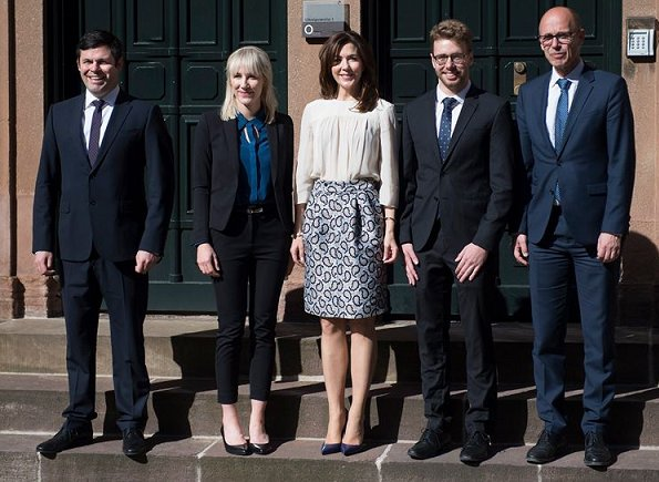 Crown Princess Mary wore Joseph Dean Skirt, Joseph Double Cashmere Oslo Coat and Prada Pointed Patent Leather Shoes