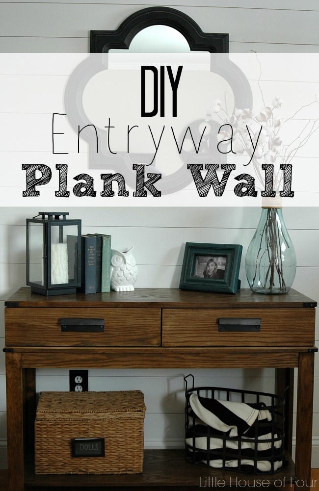 Completed entryway plank wall