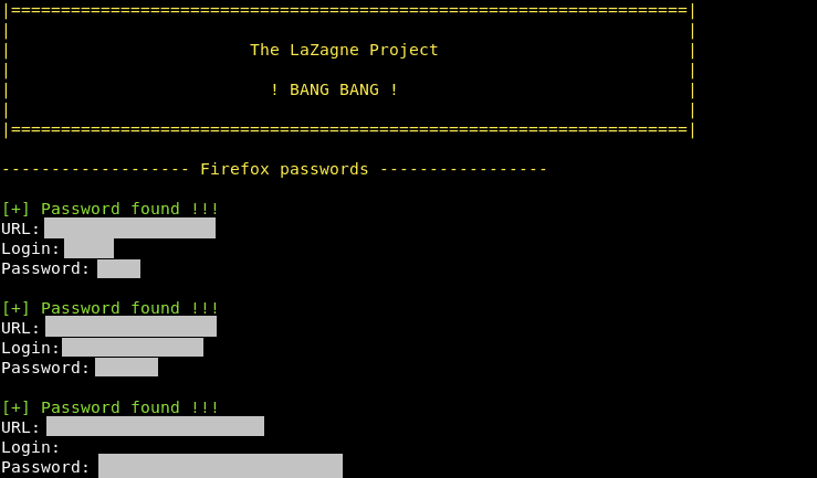 LaZagne- Retrieve All Saved Passwords from Browsers, WiFi, Memory in