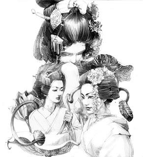 Retrato a lápiz de mujeres japonesas