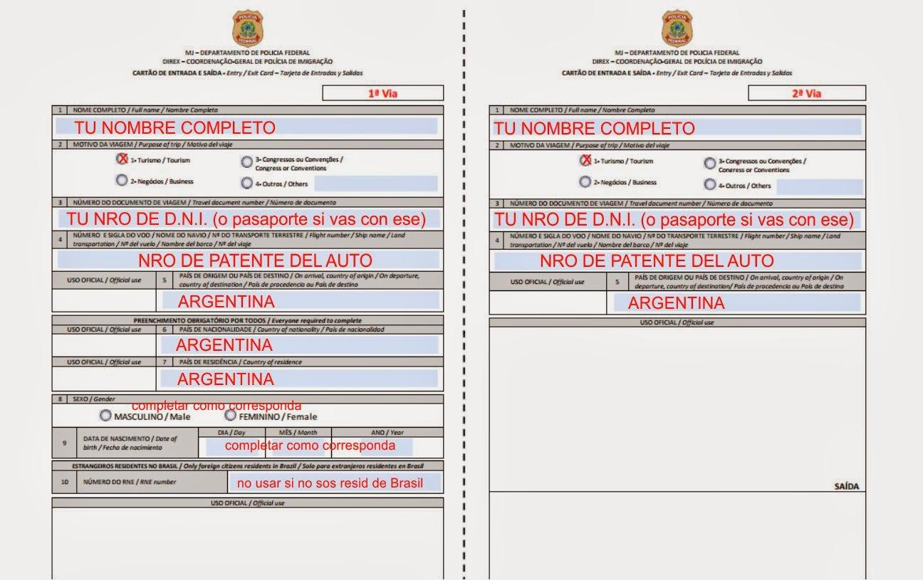 formulario entrada y salida brasil como llenarlo
