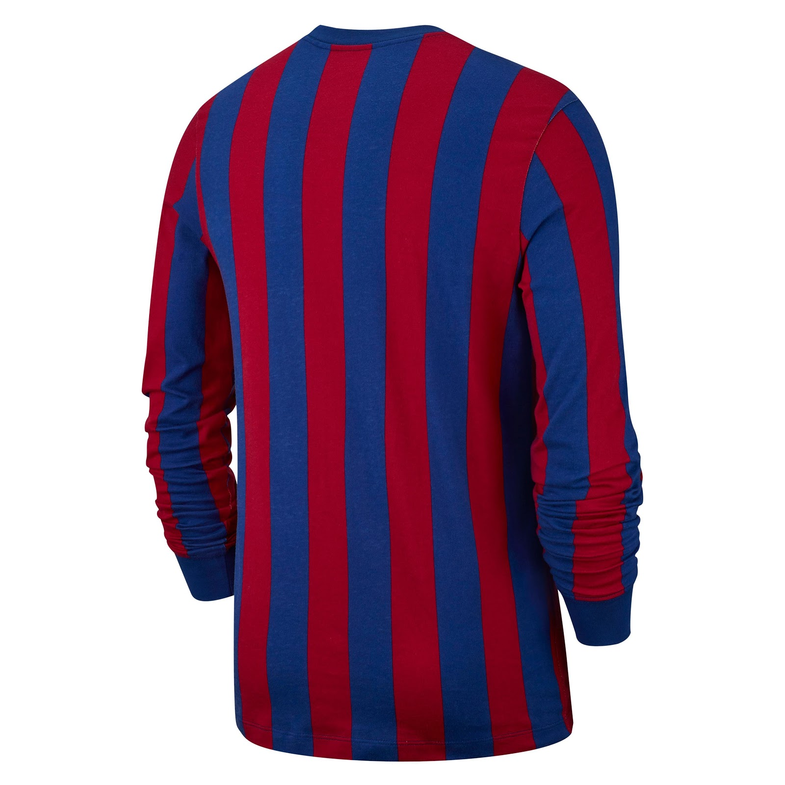 0e4925f68c53 The Nike FC Barcelona Long Sleeve Tee Retro features the club s traditional  Blaugrana stripes. It comes with the Swoosh on the left chest area and an  ...