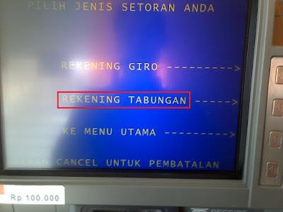 Pilih REKENING TABUNGAN