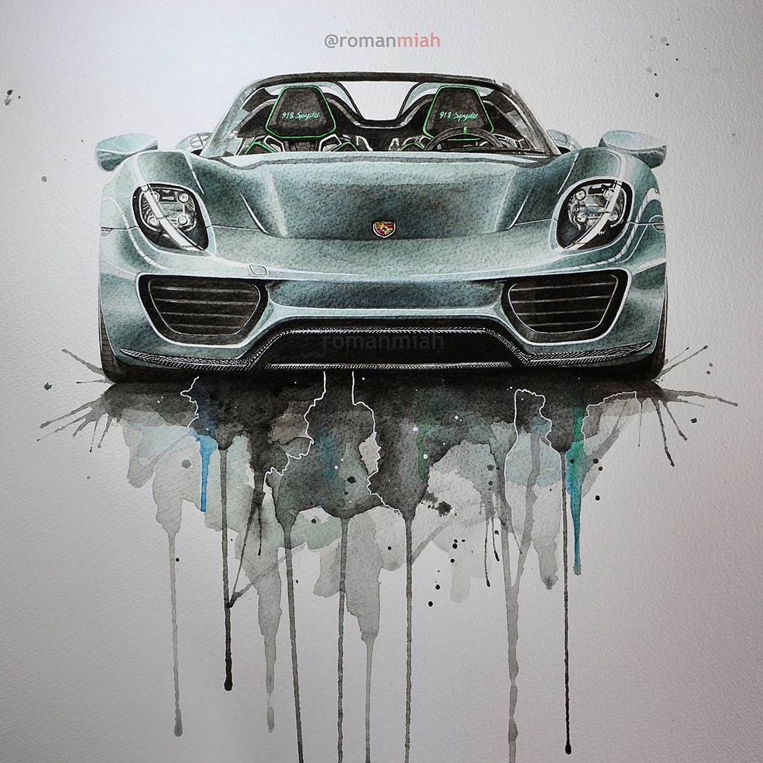 10-Porsche-918-Spyder-watercolour-Rayhan-Miah-Movie-Characters-Drawings-and-More-www-designstack-co