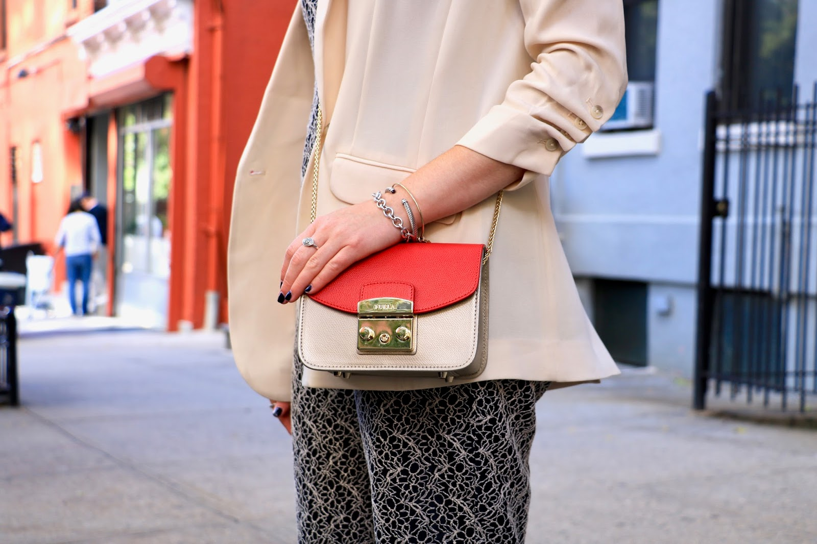 NYC fashion blogger Kathleen Harper wearing a Furla mini bag