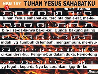 Lirik dan Not NKB 167 Tuhan Yesus Sahabatku