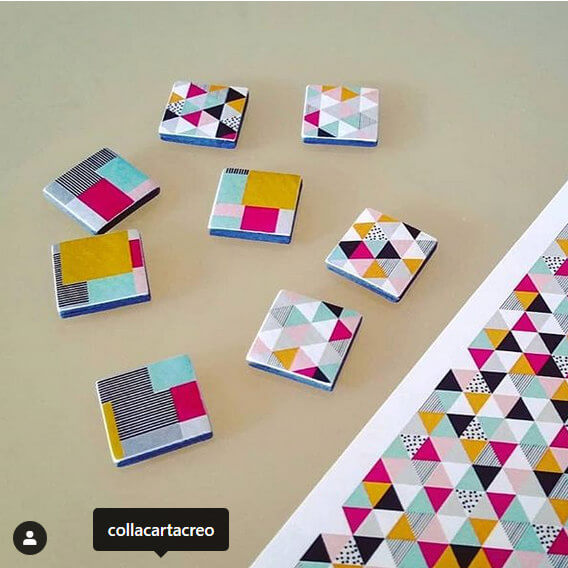 colorful geometric designs digitally printed on paper squares