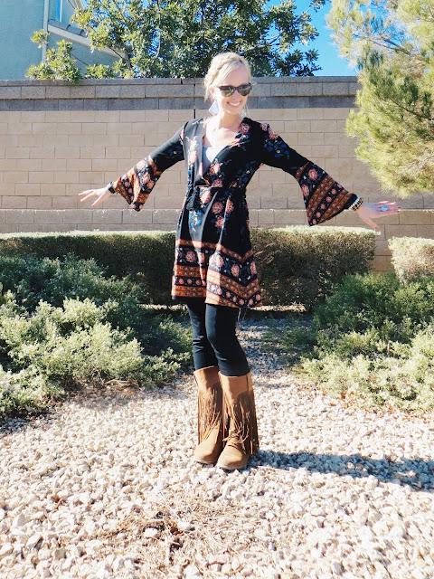Hello Eyewear Konvoy sunglasses, zaful boho dress, Chicnova jacket, AMI Clubwear boots, Kisii Handmade Ethiopian prayer bead bracelets, Jessica Ricci Jewelry Buddha ring, boho outfit, bohemian outfit, hippie outfit