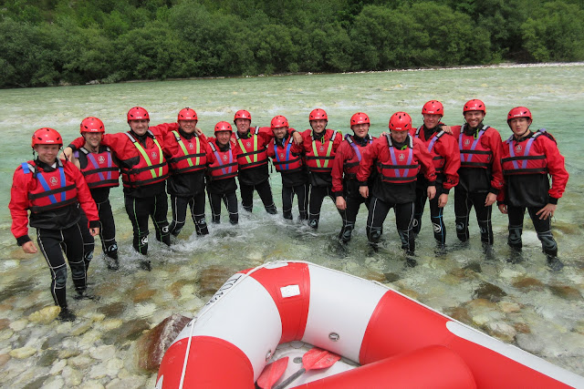 Simon Heyes stag do - rafting on Soca River, Slovenia