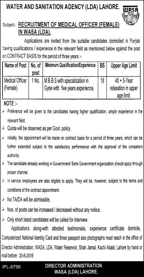 WASA Jobs in Lahore for MBBS Doctors as WMO