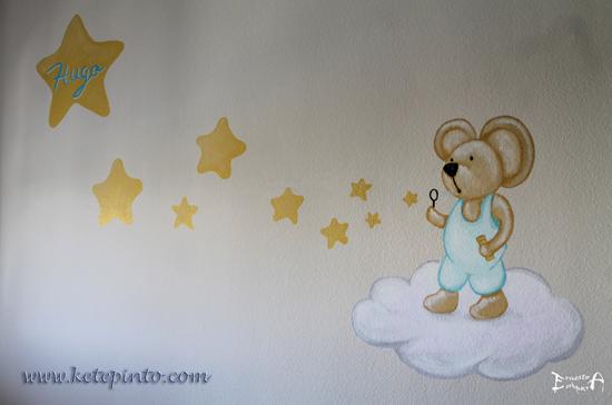 Mural de osito con estrellas