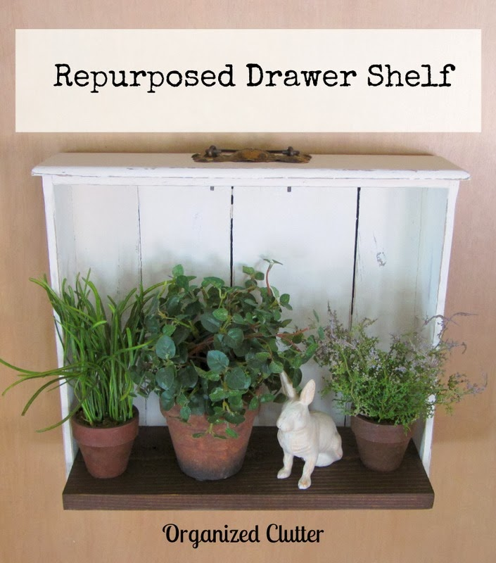 Repurposed Drawer Shelf www.organizedclutterqueen.blogspot.com