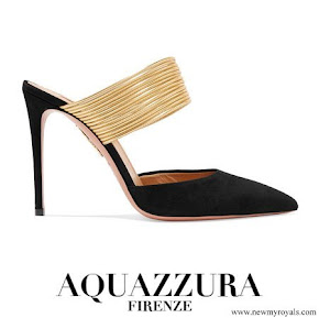 Meghan Markle wore AQUAZZURA Rendez Vous suede and metallic leather mules