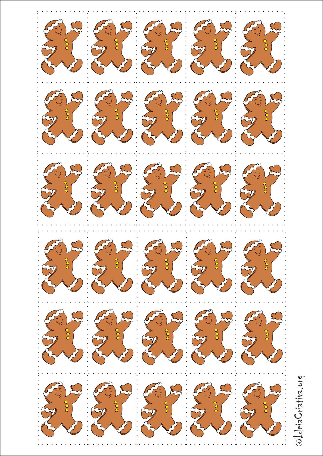 Atividade Natalina Recorte e Colagem com o personagem Gingerbread Man