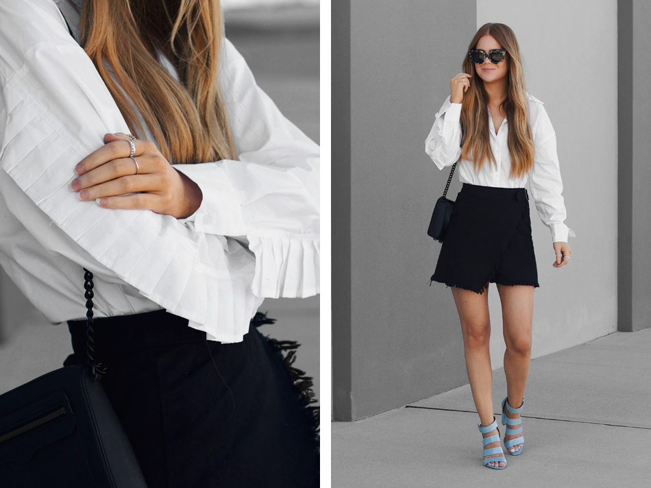 lion in the wild, kiara king, white button up shirt frill sleeve, denim wrap skirt, mode collective frankie heel