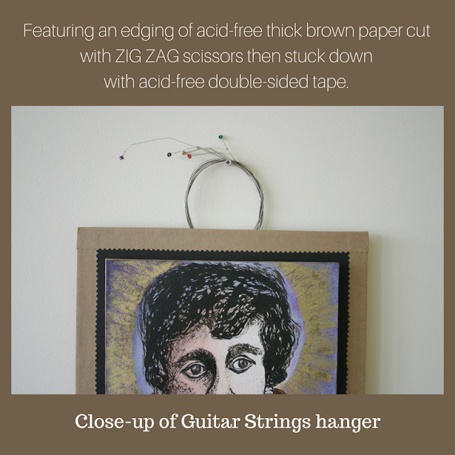 Close-up view of guitar strings hanger