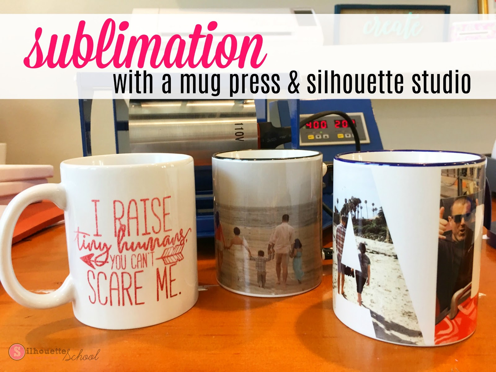 How To Sublimate Onto Ceramic Mugs Using Silhouette Studio Free Mug Wrap Size Template Silhouette School