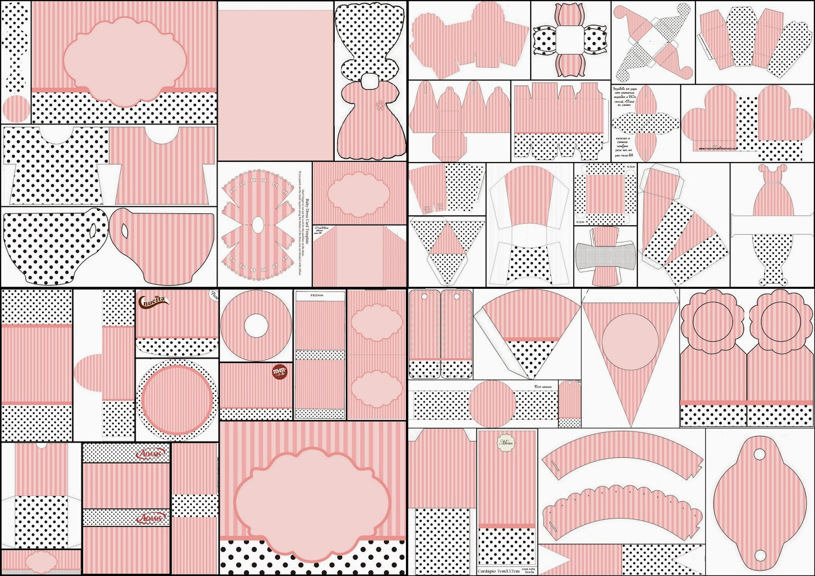 Free Printable Kit with Pink Stripes and Black Polka Dots.