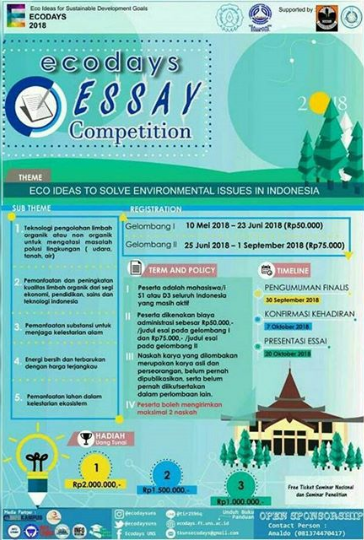 Lomba Ecodays Essay Competition Mahasiswa di UNS 2018