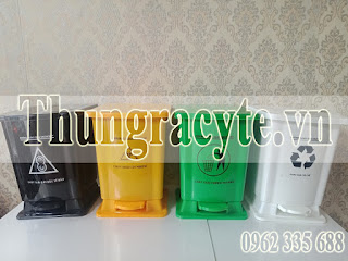 Thùng rác y tế 15 lít màu xanh, vàng, trắng, đen
