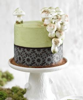 Matcha Almond Mushroom Layer Cake