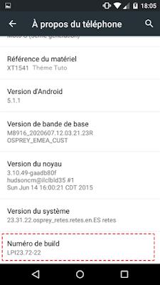 activation option dévéloppeur android