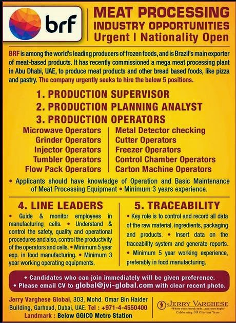 BRF brazil company jobs for Abudhabi UAE - Gulf Jobs for Malayalees