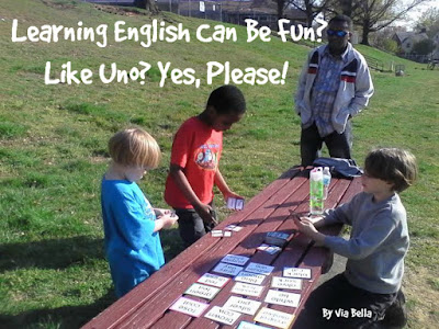 Learning English Can be Fun? Like Uno? Yes Please!, duo, kickstarter, product review, ESL, English, Fun, Uno, Dominos. homeschooling, homeschool, Learning English, Public Schools, Community colleges,