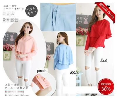 blouse lengan panjang casual kerja baju import korea murah