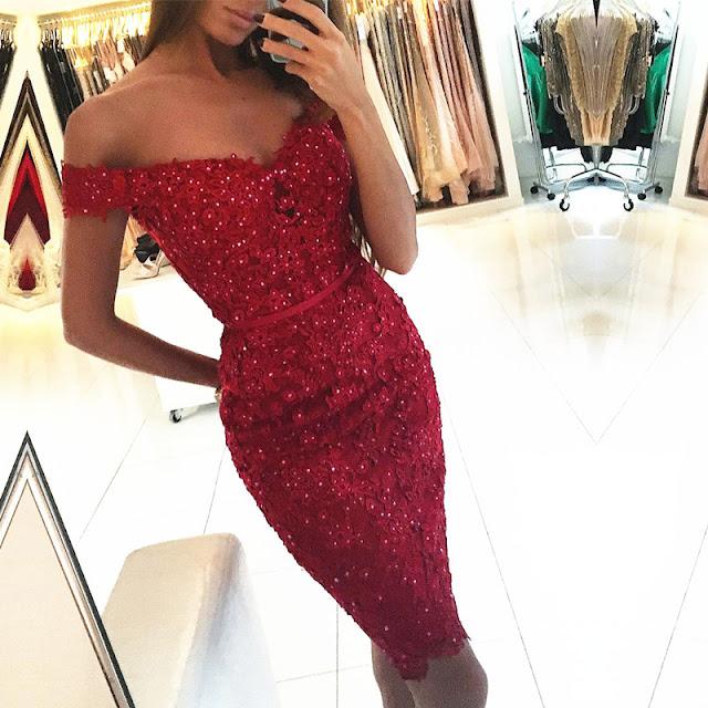 Vestido Vermelho Carmim Ombro à Ombro