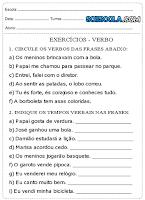 Atividades de português 5° ano - Verbos