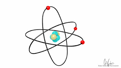 made with blender 3d software a stylized atom on a bright background in the Bohr model.
