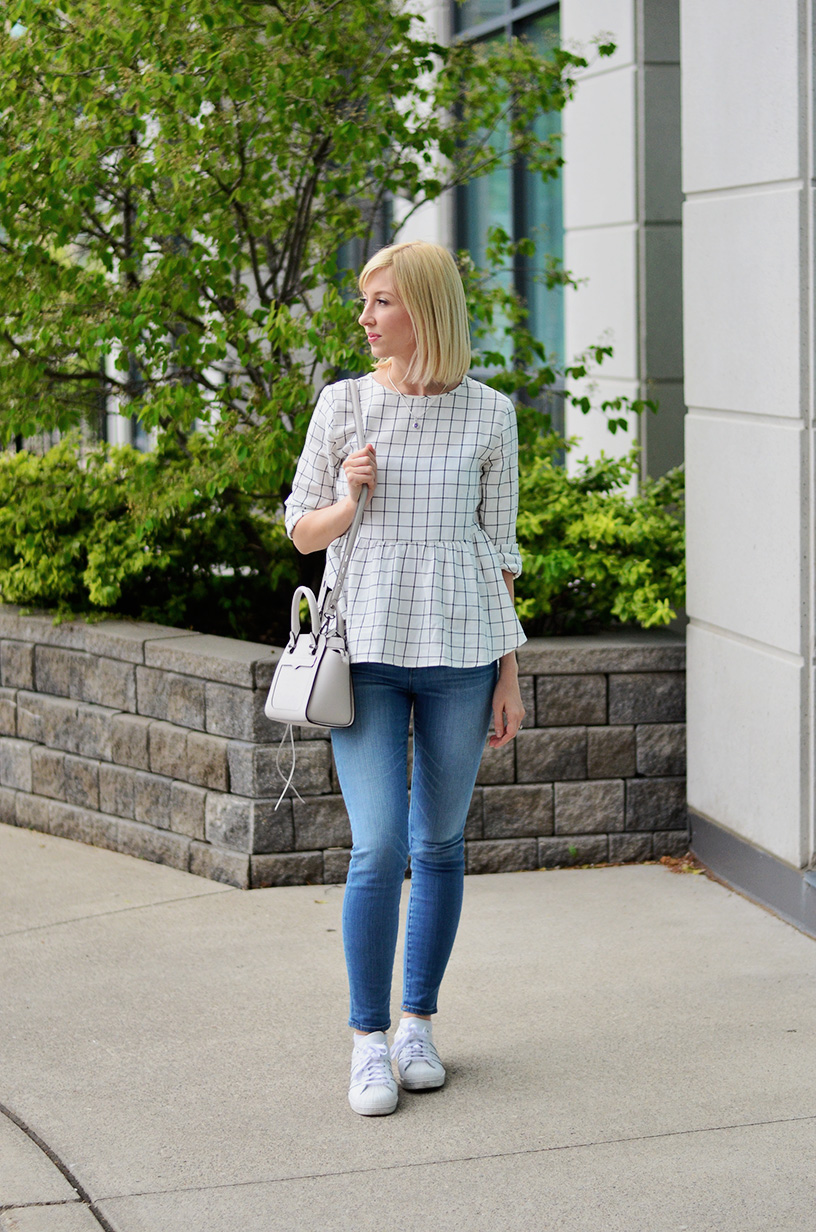 windowpane peplum blouse style