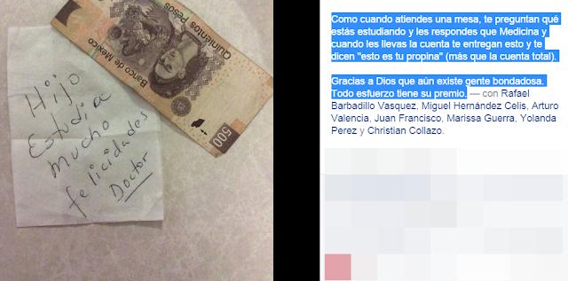 Comensal deja 500 pesos y emotivo mensaje a mesero (+video)