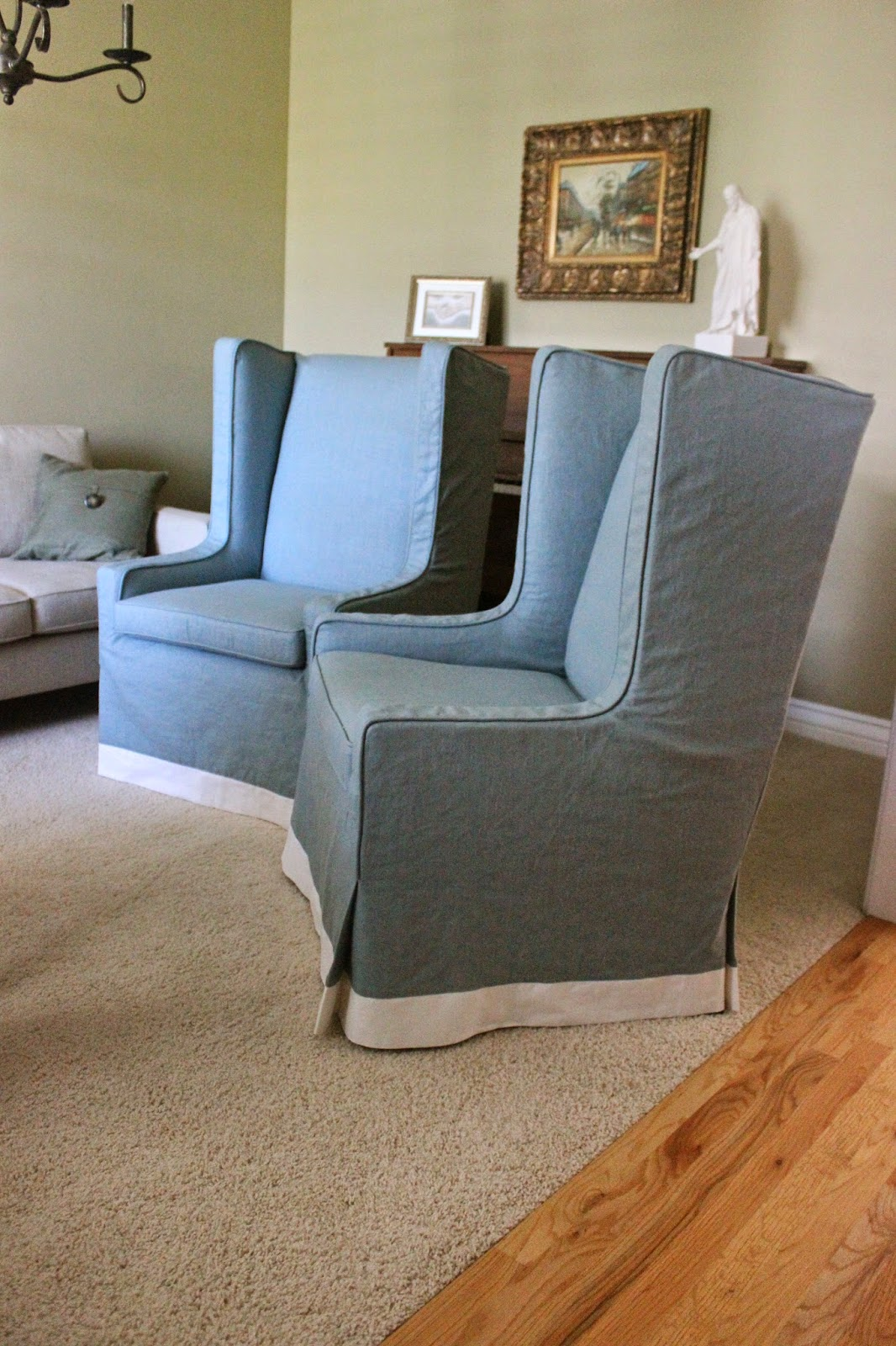 wingback chair covers gray bunjo bungee academy custom slipcovers by shelley grey linen wingbacks