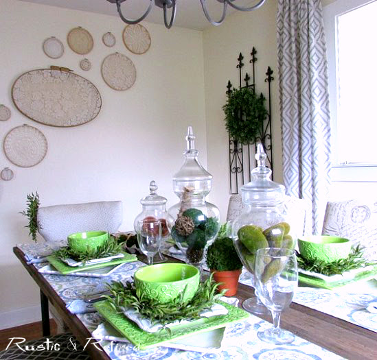 Spring decor touches in the dining room using blues and greens.