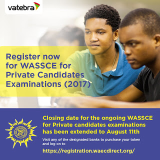 WAEC 2017 (Private Candidates) Registration Closing Date Extended