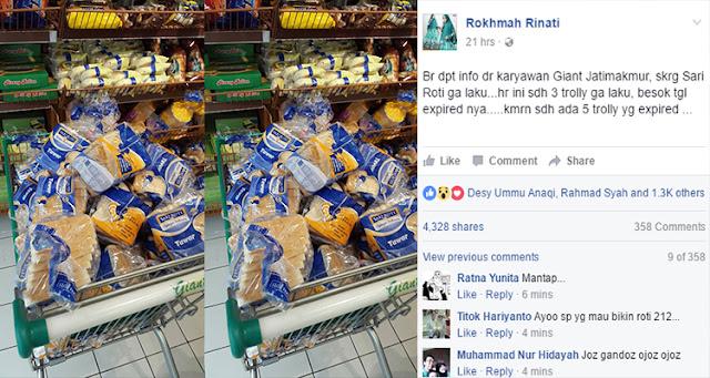 Netizen: 5 Trolly Sari Roti di Sebuah Supermarket Sudah Expired