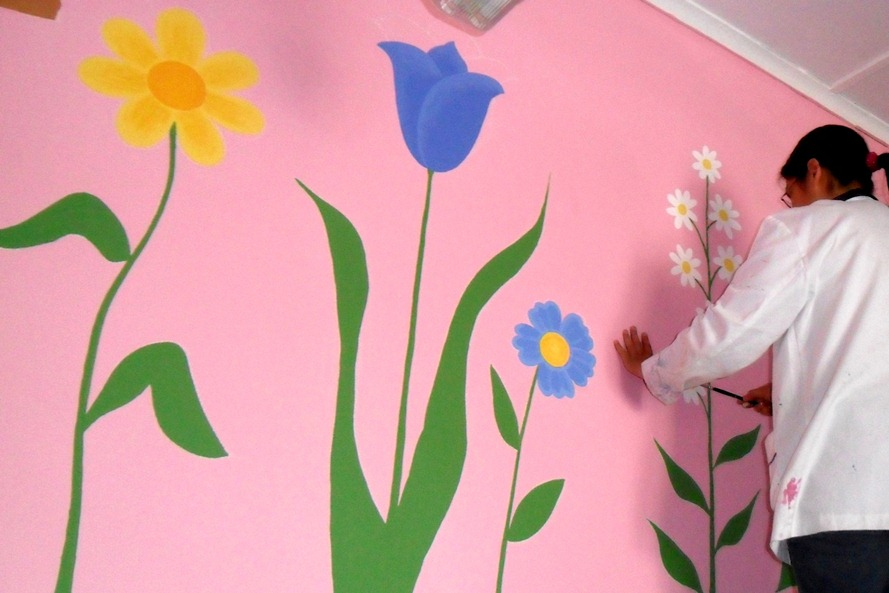 Murales Infantiles Mural Infantil De Flores En Kinder