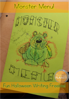 Monster Menu!  Fun, free October Poem and Writing Activity!