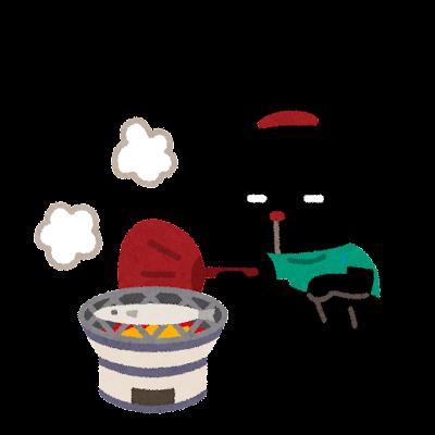 サンマを焼くぴょこのイラスト