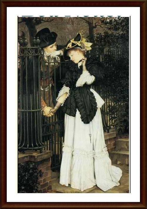 Quadro com um casal a moda antiga, namorando com o portão fechado, segurando carinhosamente a mão um do outro.