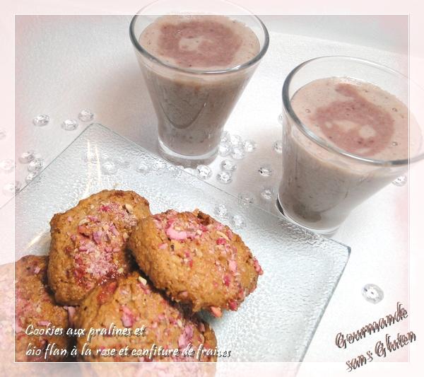 Cookies aux pralines et bio flan à la rose et confiture de fraises