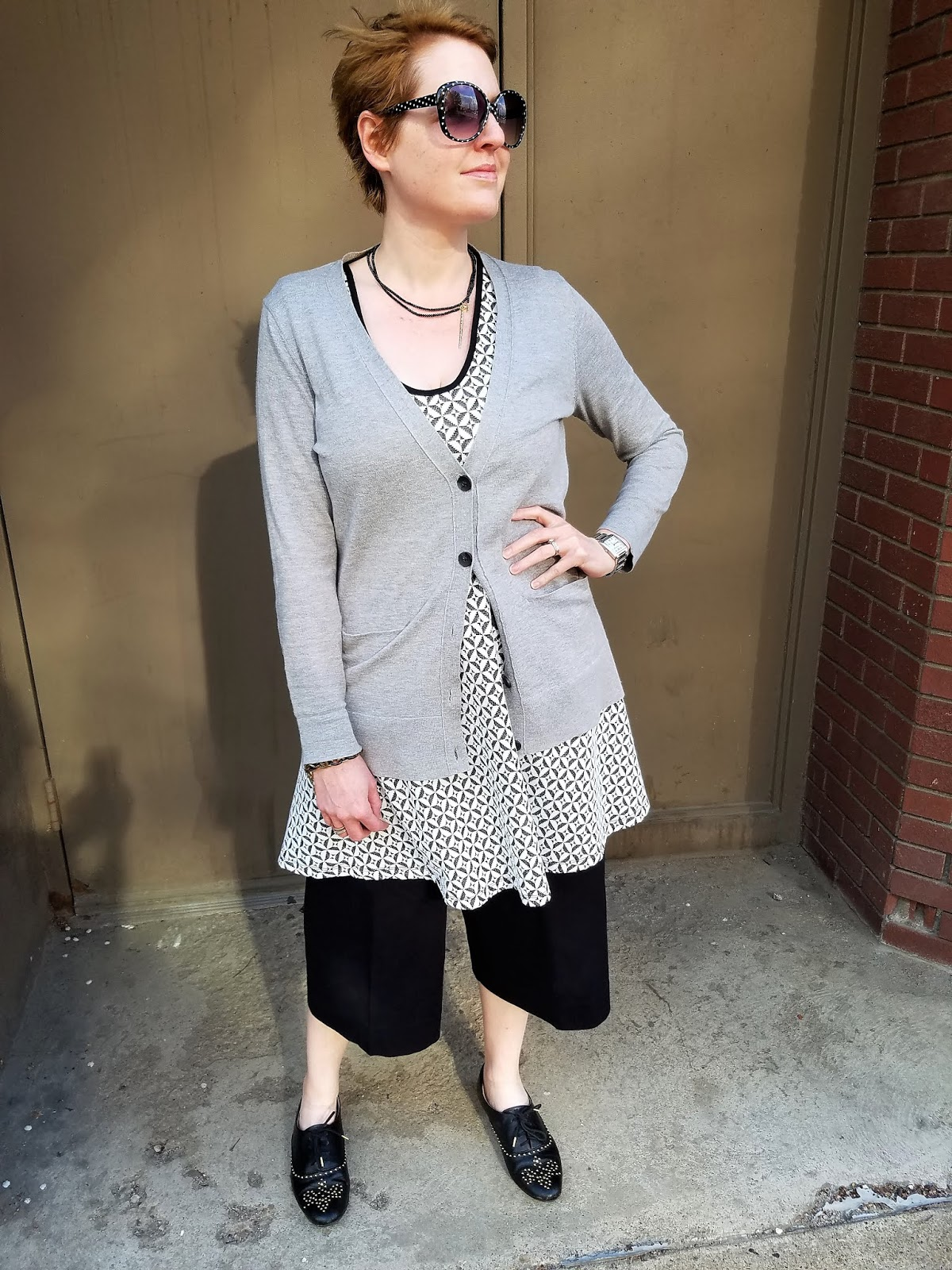 e72b214ac dress/necklace-Via Le Tote, cardi-Old Navy(similar here), culottes-Everlane(similar  here), loafers-Zara(smilar here), sunnies-Target(similar here)